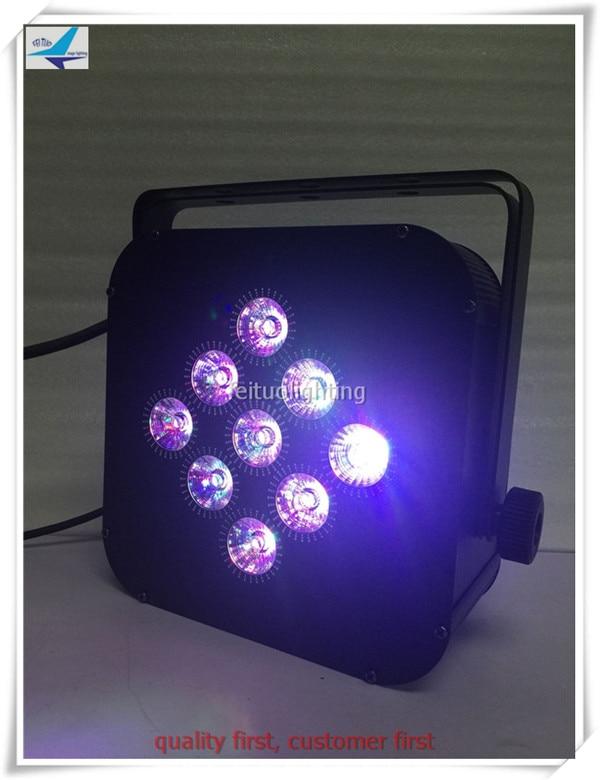 Free shipping (8/lot) 9x10w rgbw 4 in 1 battery Wireless LED Flat Par Can,ADJ LED Par Light,Wireless LED
