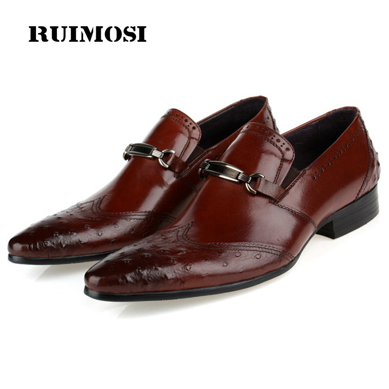 RUIMOSI Vintage Luxury Brand Man Ostrich Formal Dress Shoes Genuine Leather Brogue Loafers Pointed Toe Men's Wing Tip Flats EC53