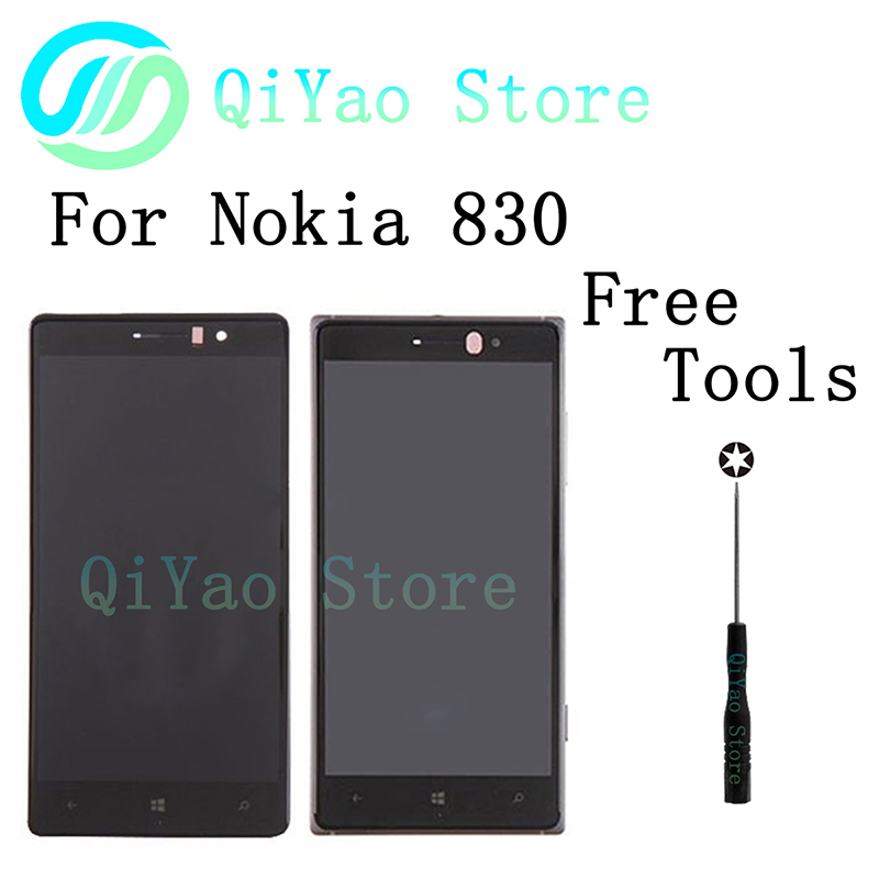 ФОТО For Nokia Lumia 830 Black Silver LCD+Touch Digitizer Screenlens Lens Assembly Frame+Tools Free Shipping