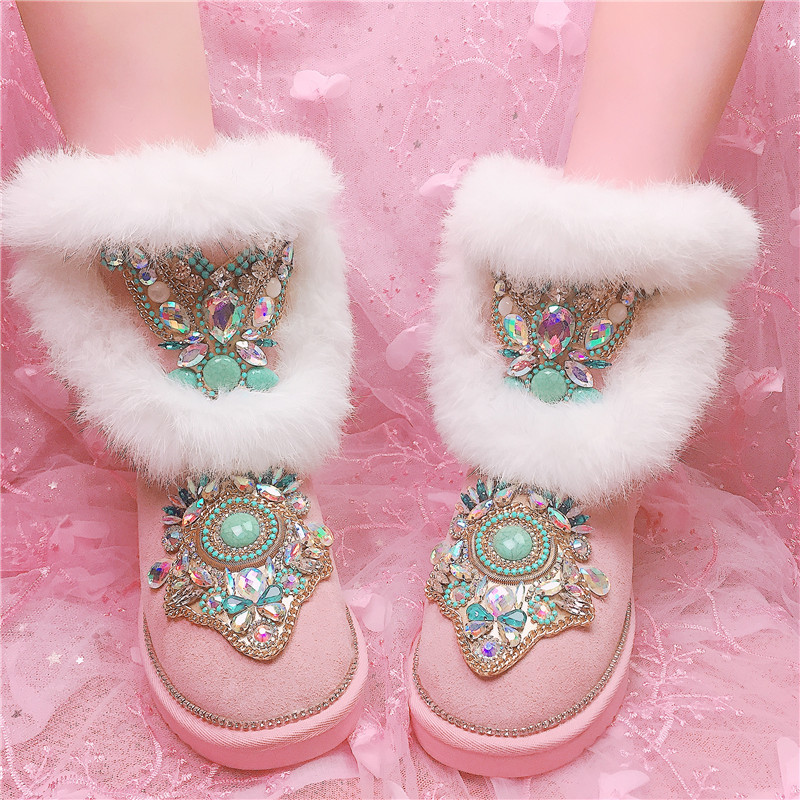 Zapatos Piel Botas Rosado Media Negro Invierno Preciosa Caliente Les Pierna Bottes De Damas Femme Totem Mujeres Piedra Gem Mujer Nieve tOpxqzwg