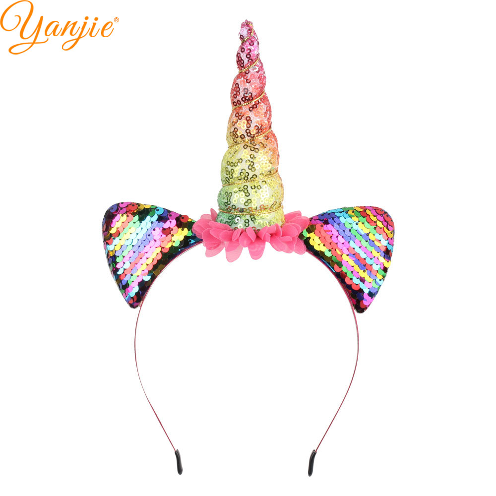 14bec32ede0 Funky Rainbow Glitter Sequins Padded Horse Horn Ears Women Girl Party Hairband  2019 Charming Floral Headband Hair Accessories