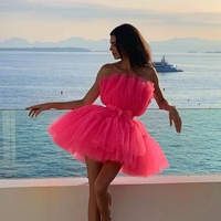 2019 Sexy Stage & Dance Wear Neon Hot Pink Balle Bubble Dress Off Shoulder Mesh Mini Dress Backless Sexy Club Dresses Vestidos