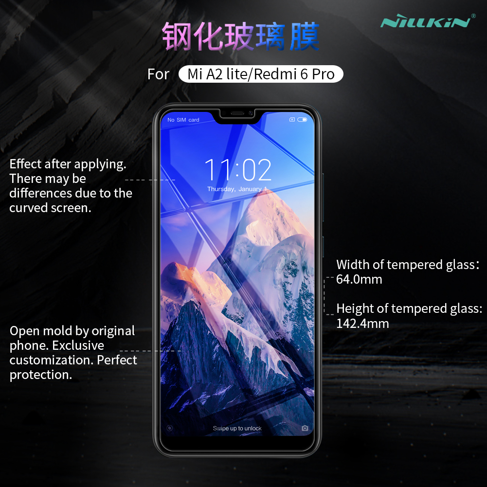 Image 3 - Tempered Glass For Xiaomi Mi A2 Lite 5.84 Nillkin Amazing H 0.33MM Screen Protector for Xiaomi Redmi 6 Pro / Mi A2 Lite Glass-in Phone Screen Protectors from Cellphones & Telecommunications on