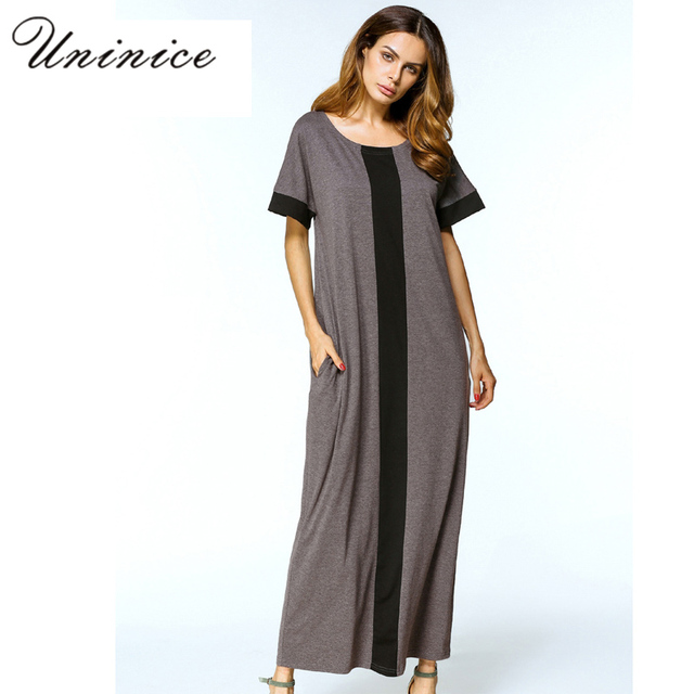 Casual Muslim Maxi Dress Plus Size T-Shirt Dresses Abaya Loose Style  Ramadan Arabic Long Robes Turkish Islamic Prayer Clothing 6b3717980