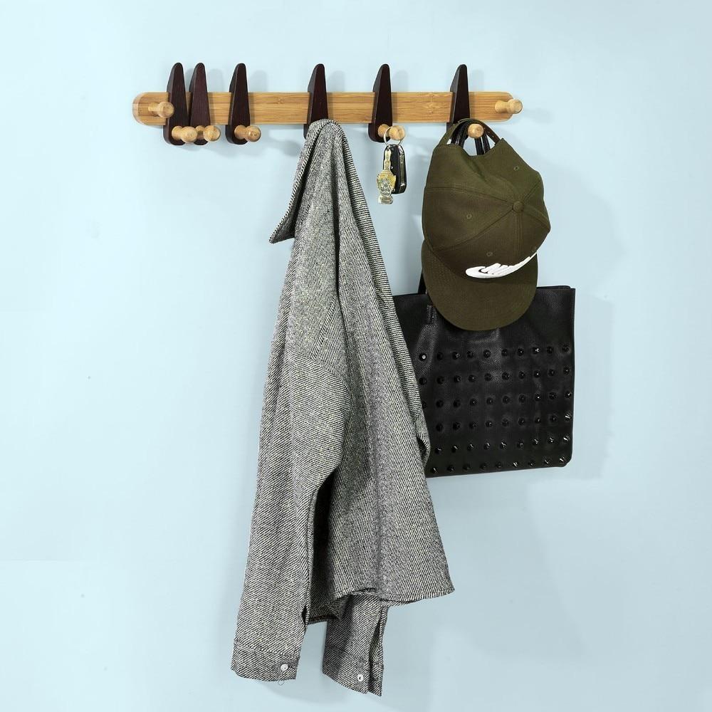 SoBuy FHK08, Bamboo Wall Mounted Coat Rack, Bathroom Wall Towel Rack Shelf with 8 Hooks couple swan wall mounted rack