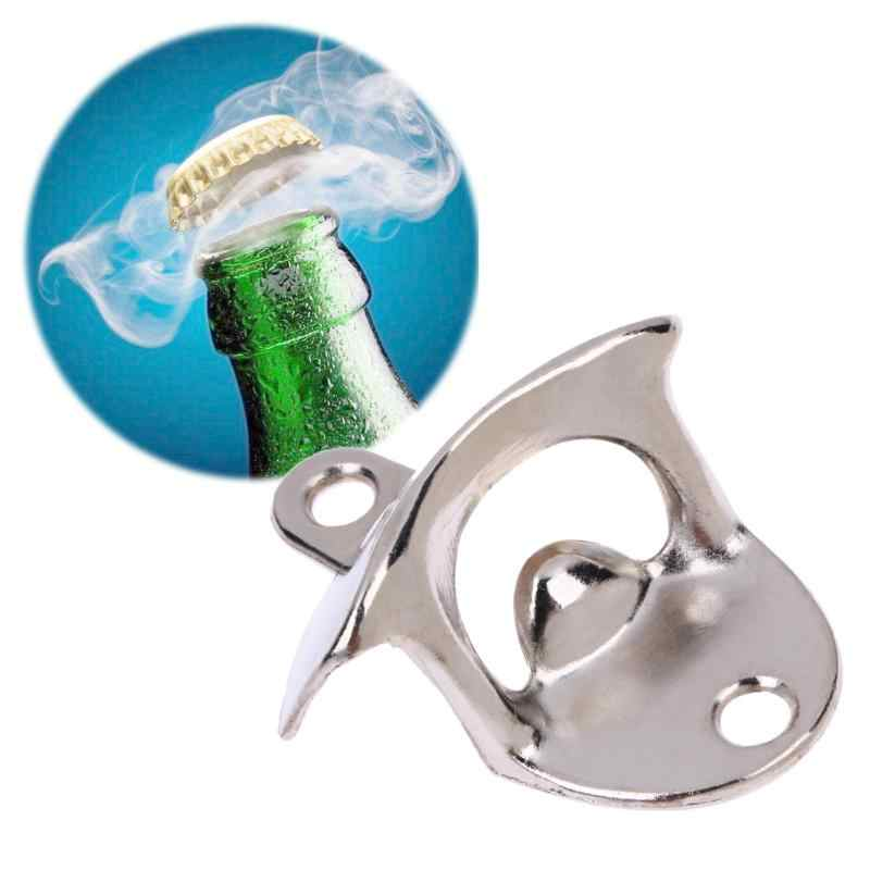 Vintage Stainless Steel Wall Mounted Bottle Opener Wine Beer Opener Tool Home Kitchen Party Supplies Bar Drinking Accessories