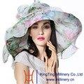 Джун Молодой Лето Новая Мода Органзы Hat 100% Органзы Цветочный Узор Свадебная Одежда Летнее Солнце Шляпу Дерби Леди Повседневная Fedora