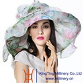 June's Young Summer New Fashion Organza Hat 100% Organza Floral Pattern Wedding Wear Summer Sun Hat Derby Lady Casual Fedora