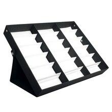 18グリッドサングラスメガネデスタンド収納ボックストレイケーススタンドcasetray黒着用してくださいディスプレイウォッチボックスホット
