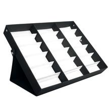 Caja de almacenamiento para gafas de sol de 18 rejillas, estuche con soporte, estuche negro