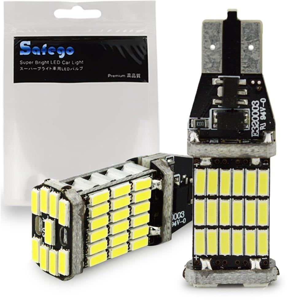 2pcs Safego T15 45 SMD 921 912 T10 4014 LED Bulbs Canbus Error Free For Car Backup Reverse Lights 1000 Lumens 6500k White