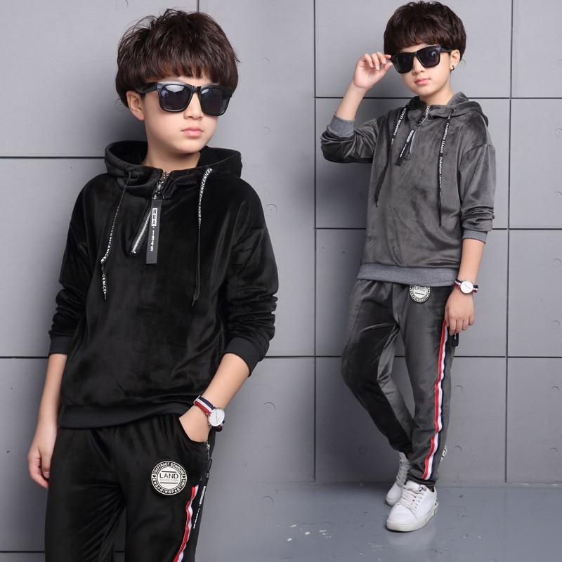 2017 Kids Sports Suit For Boys Velvet Embroidery Animal Long Sleeve Shirt + Pant Set Girl Sweatsuit Autumn Children Clothing Set