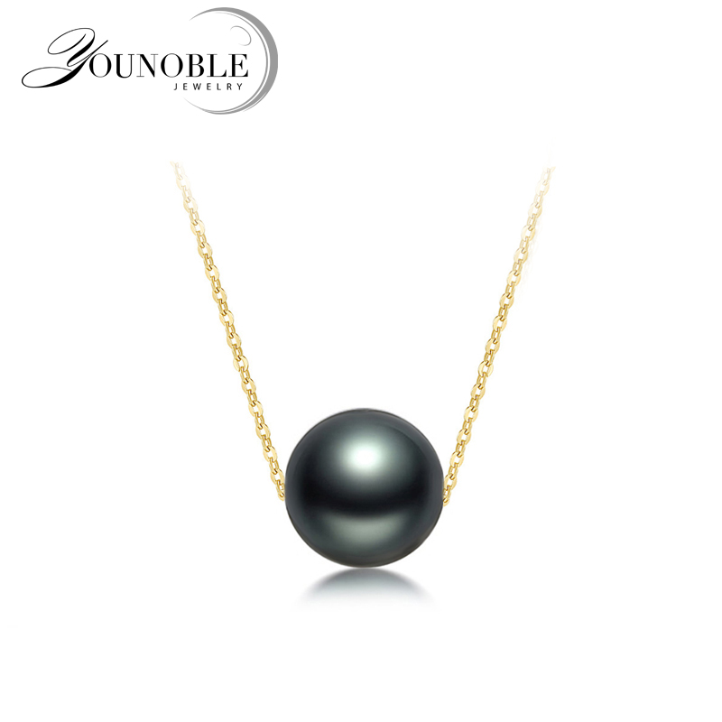 Wedding Gold Jewelry Pendant Necklace Black Round Tahitian Pearl Women,Anti Allergic 18K Gold Necklace Luxury Anniversary GiftWedding Gold Jewelry Pendant Necklace Black Round Tahitian Pearl Women,Anti Allergic 18K Gold Necklace Luxury Anniversary Gift