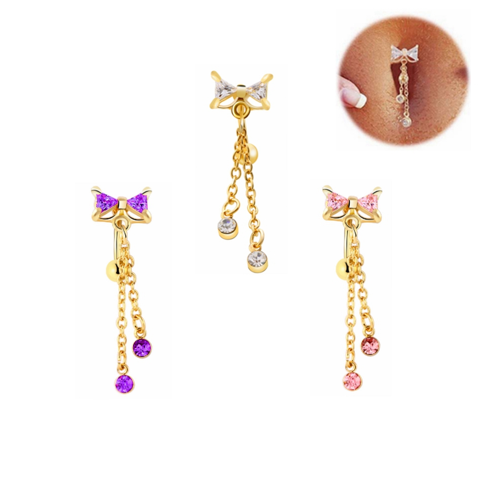 HTB1WbKbPXXXXXcQaXXXq6xXFXXXn Dainty Stainless Steel  Rhinestone Crystal Dangling Ribbon Bow Navel Ring For Women