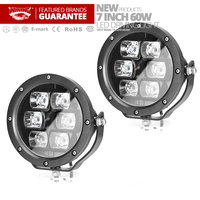 Free Shipping 2PCS 7 Inch LED WORK LIGHT Spot Light 60W Round Front Off Road 4x4