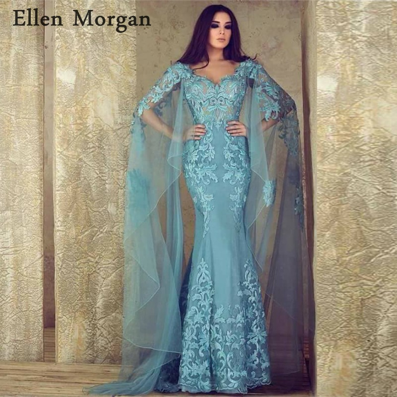 Arabic Mermaid Evening Dresses Party Elegant for Women Celebrity Dubai Caftan Zipper Lace Saudi Arabia Formal Gown 2019