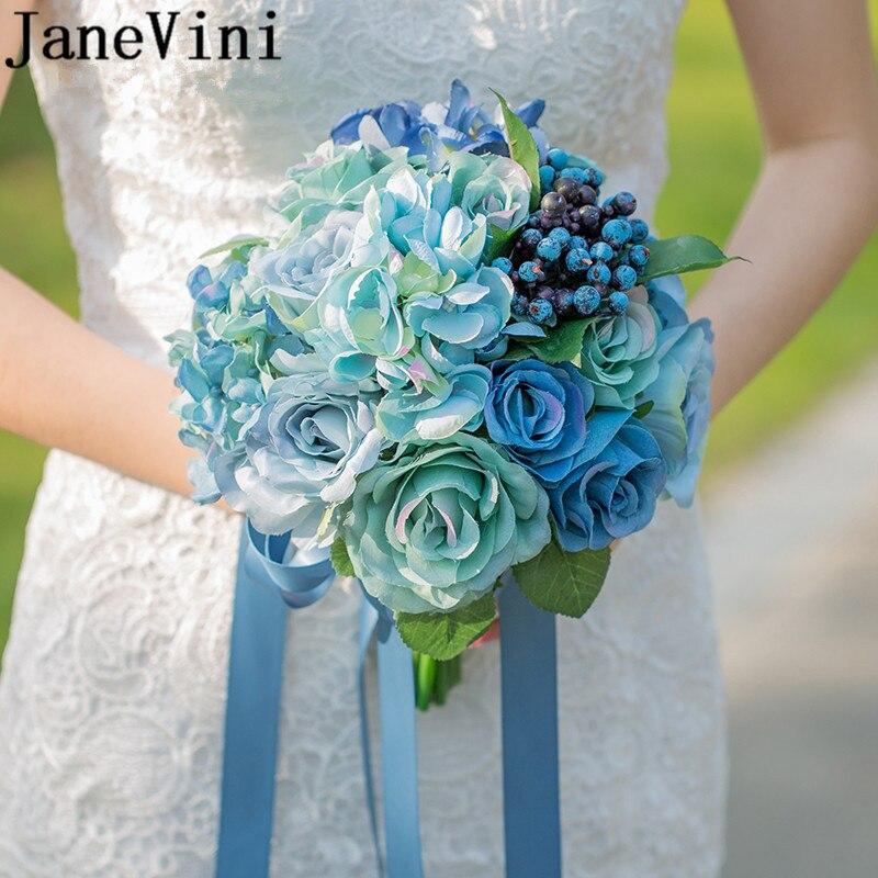 JaneVini Blue Flowers Bridal Bouquet Artificial Silk Bridesmaid Flower For Bride Groom Flower Ribbon Wedding Bouquet De Mariage