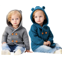 Pasgeboren Baby Breien Vest Winter Warm Baby Truien Jongens Meisjes Lange Mouw Kapmantel Jas Kids Uitloper Kleding Outfit