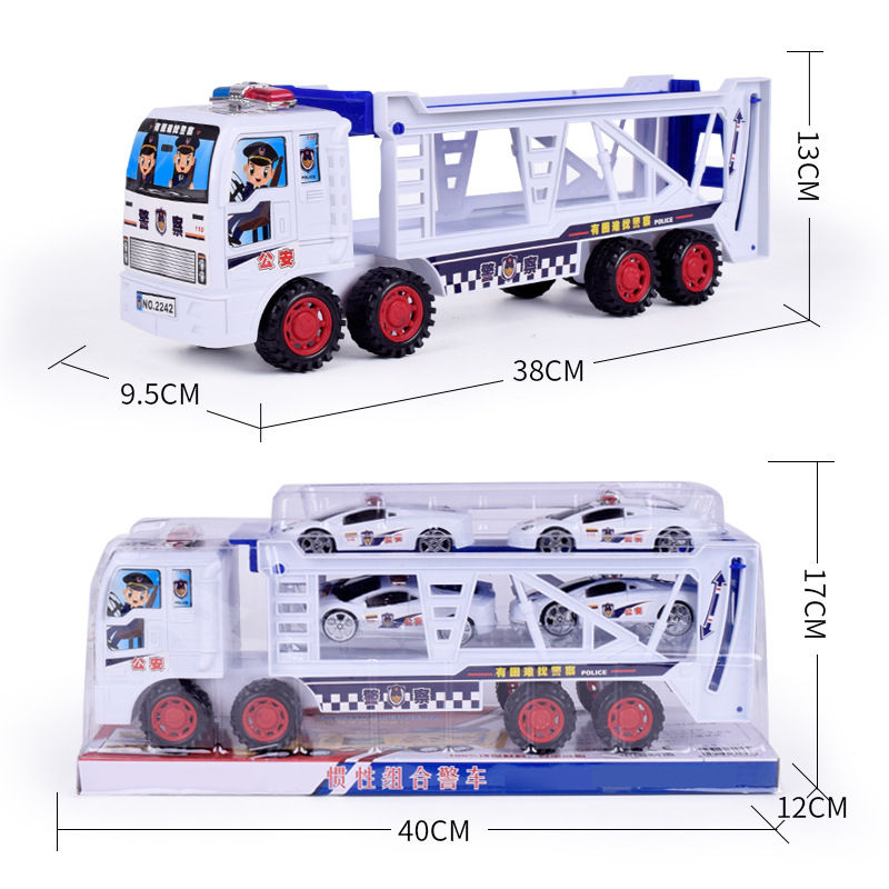 Large Double deck Inertial Trailer Mini Polices Car Toy Children Plastic Simulation Model Hot sell Toy Car Incidental Small Car in Diecasts Toy Vehicles from Toys Hobbies