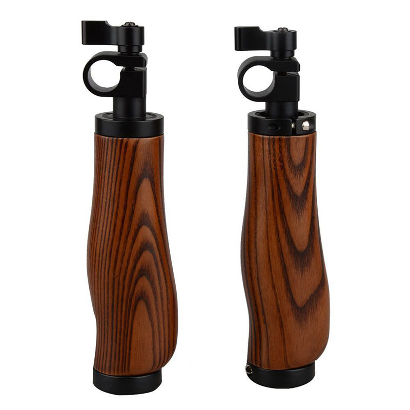Dual Camera Wooden Handle Grips For 15mm Rail Rod System DSLR Shoulder Rig Support Stand DSLR Camara Steadicam Accessory C9042 camvate dslr handle camera grip wooden handgrip right hand for arri alexa extender arm shoulder support system c1321