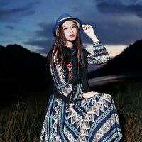 Литература искусство древних в национальном стиле женские платье осенью и зимой длинное платье