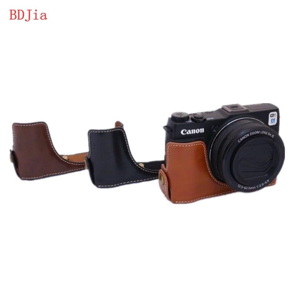 cf208645a Fashional كاميرا حقيبة القضية لكانون g1x G1XII markii بو الجلود نصف الجسم  مجموعة الغلاف مع فتحة البطارية ، 3 الألوان ، شحن مجاني