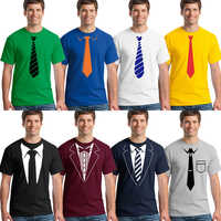 YUANQISHUN 2018 Summer Fake Suit Tie Print T Shirt Collection 18 Styles 3D High Quality Fashion Cotton T-shirt Funny Tie Tshirts