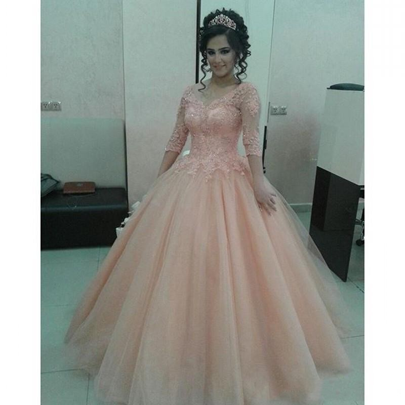 Blush Pink Long Sleeve Prom Dresses