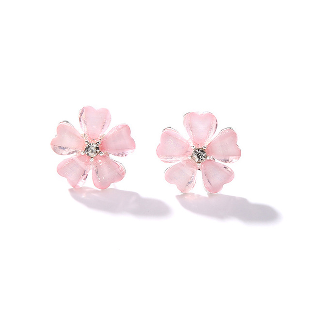 5 Leaves Clover Center Crystal Pistil Pink Black White Flower Stud ...