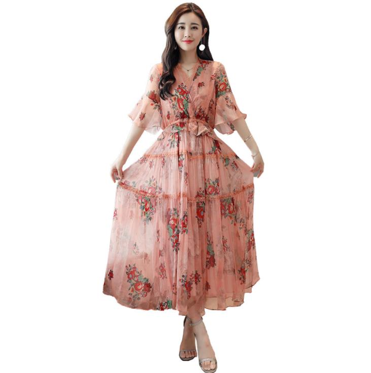 Fashion Elegant Pink Floral Midi Dress Lace V-neck Half Sleeve Chiffon Women Summer Ladies Dress Sundress Vestidos Ropa Mujer 28