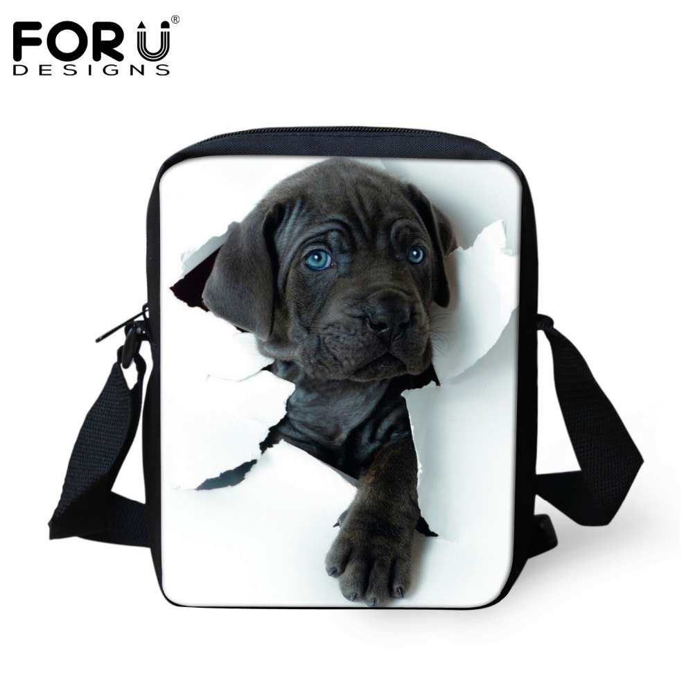 FORUDESIGNS Customize Women Messenger Bags Cute Pet Cat Dog Printing Shoulder Bag Messenger Bags High Crossbosy Bag For Girls