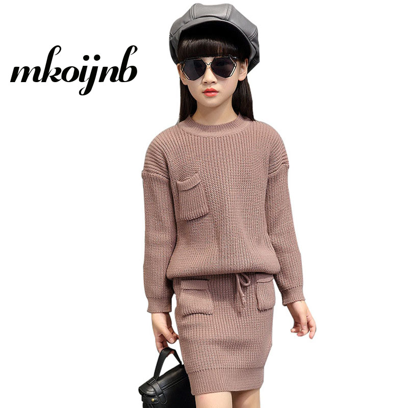Girls Solid Sweaters & Skirts 2Pcs For Pocket Knitted Kids Clothes Sets Autumn Winter Children Clothing Sets 2 4 6 8 10 12 Years