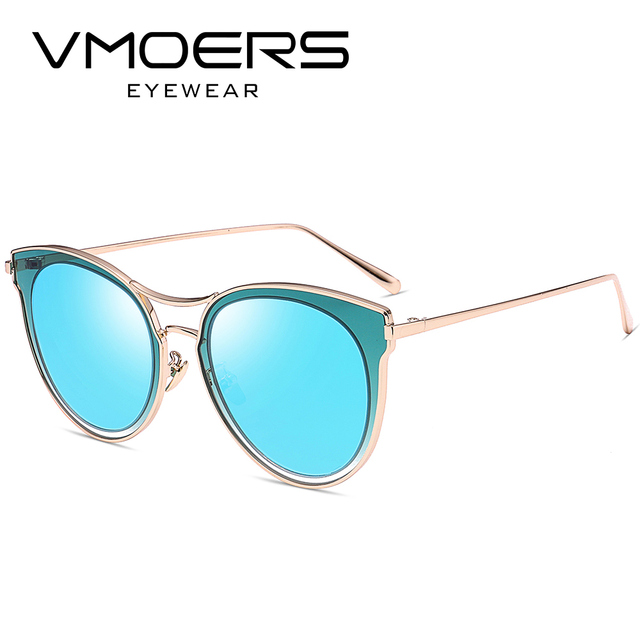 de956a6687 VMOERS Aviator Cat Eye Sunglasses Women Luxury Designer Brand Eyewear Sun  Glasses For Women Blue Mirror