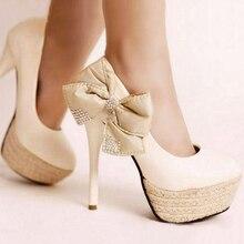 Classic Pumps Women Shoes High Heels Shallow Pumps Office with Vintage Platform Rhinestones Bow KC001 White Black Colors цена