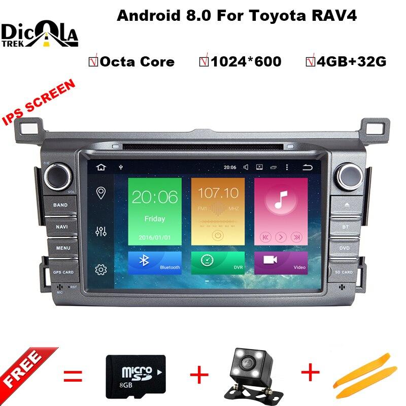 Восьмиядерный 4 + 32 г ips экран Android 8,0 автомобильный gps для Toyota RAV4 2013 2014 2015 dvd плеер мультимедиа Навигация радио, BT 4G, WI FI