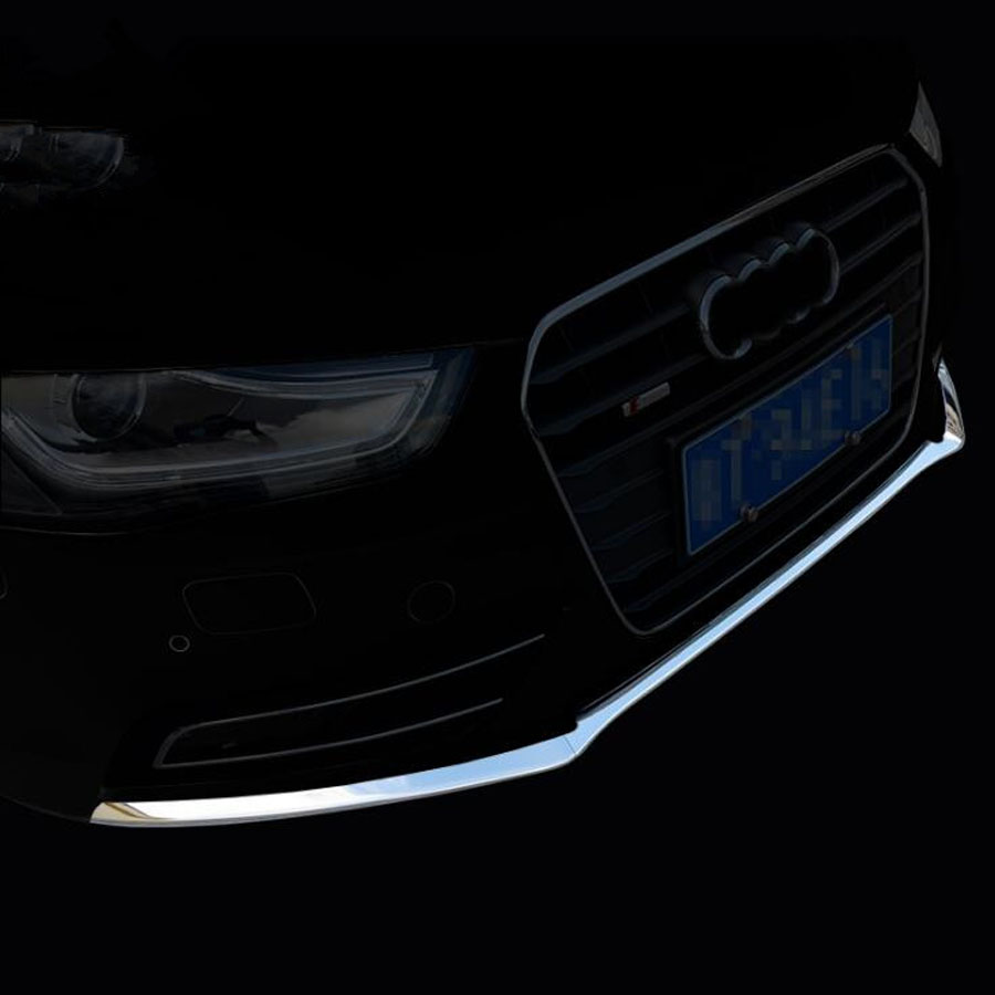 Chrome ABS Car Front Grille Grill Bumper Down Strips Cover Trim Styling For Audi A4 A4L B9 2017 2018 Auto Accessories abs chrome front bottom bumper cover trims grille strips car engine protection for toyota corolla 2017 2018 facelift accessories