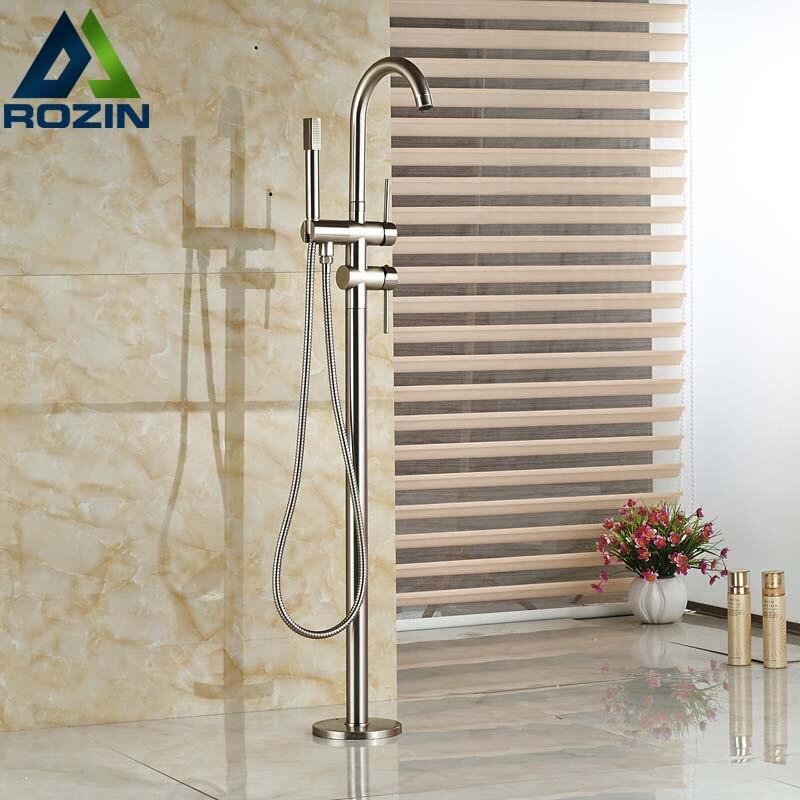 ᐅNíquel cepillado bañera de pie baño grifo sola manija con ducha