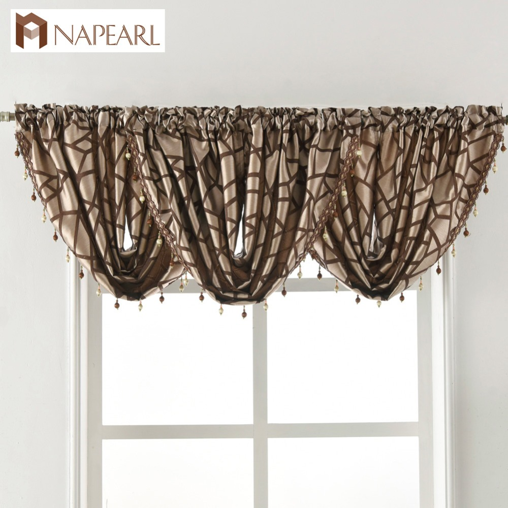 US $12.38 52% OFF|Beaded Waterfall Valance luxury living room window  valance decoration home pelmet fancy modern window treatment curtain  thick-in ...
