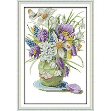 Joy Sunday Vase (2)  Chinese cross stitch kits Ecological cotton stamped printed 14CT 11CT DIY gift wedding decoration for home