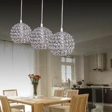 Современный яркий круглый шар Серебристый Стальной диаметром 15 см E27 светодиодные лампы простой K9 подвески из кристаллов потолочные светильники для кофе бар караоке гостиница освещение