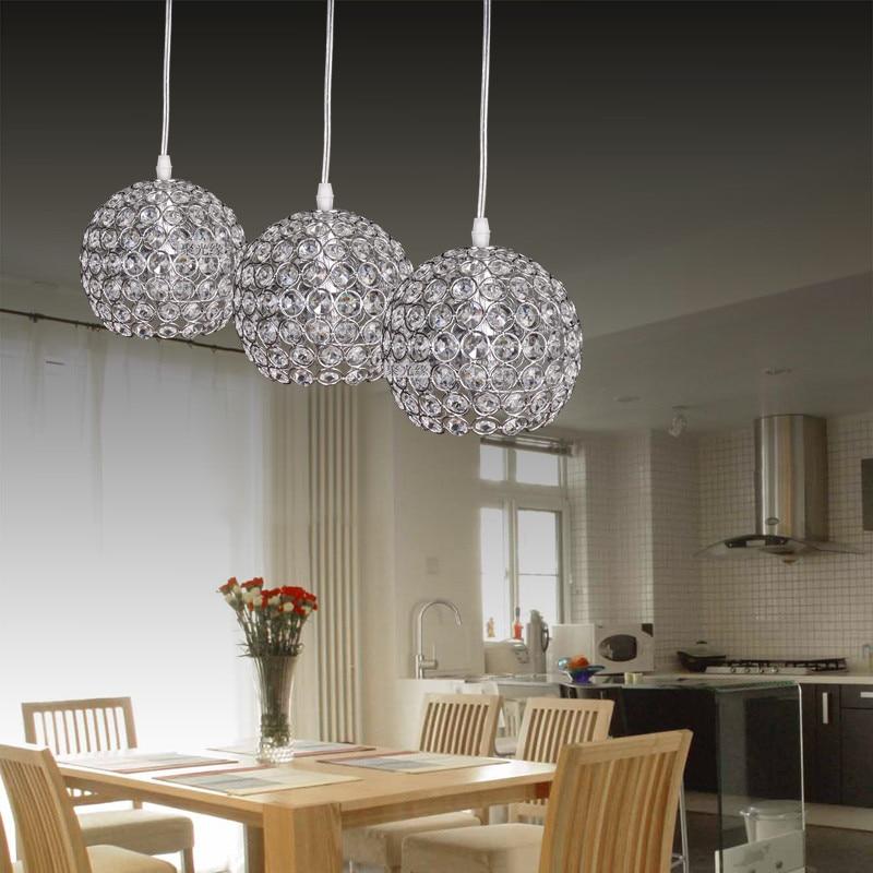 Moderne lumineux boule ronde argent fer DIA 15 CM E27 lampes LED simple K9 cristaux pendentif lumières pour barre de café KTV hôtel éclairage