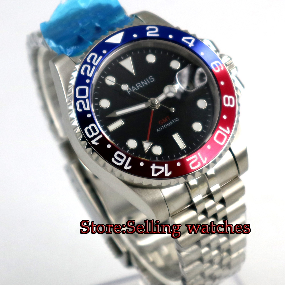 40mm PARNIS Black Dial Sapphire Glass GMT Jubilee style strap Luminous Hands Date  Steel Case Automatic Movement mens Watch40mm PARNIS Black Dial Sapphire Glass GMT Jubilee style strap Luminous Hands Date  Steel Case Automatic Movement mens Watch
