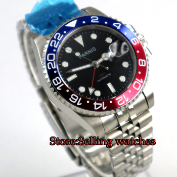 40mm PARNIS Black Dial Sapphire Glass GMT Jubilee style strap Luminous Hands Date  Steel Case Automatic Movement men's Watch newest 44mm parnis white dial moon phase complete calendar golden plated case automatic self wind movement men s wristwatches