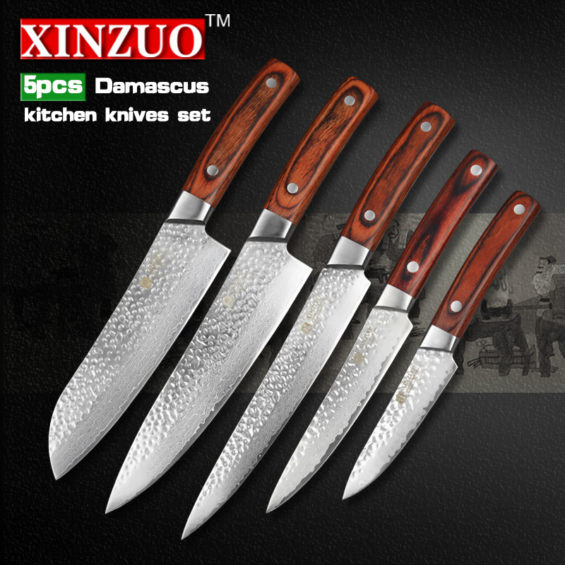XINZUO 5 pcs Kitchen font b knives b font set font b knife b font Damascus