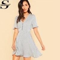 Sheinside Ruffle Sleeve Polka Dot Dress 2018 Spring V Neck Short Flounce Sleeve Belt Elegant Dress