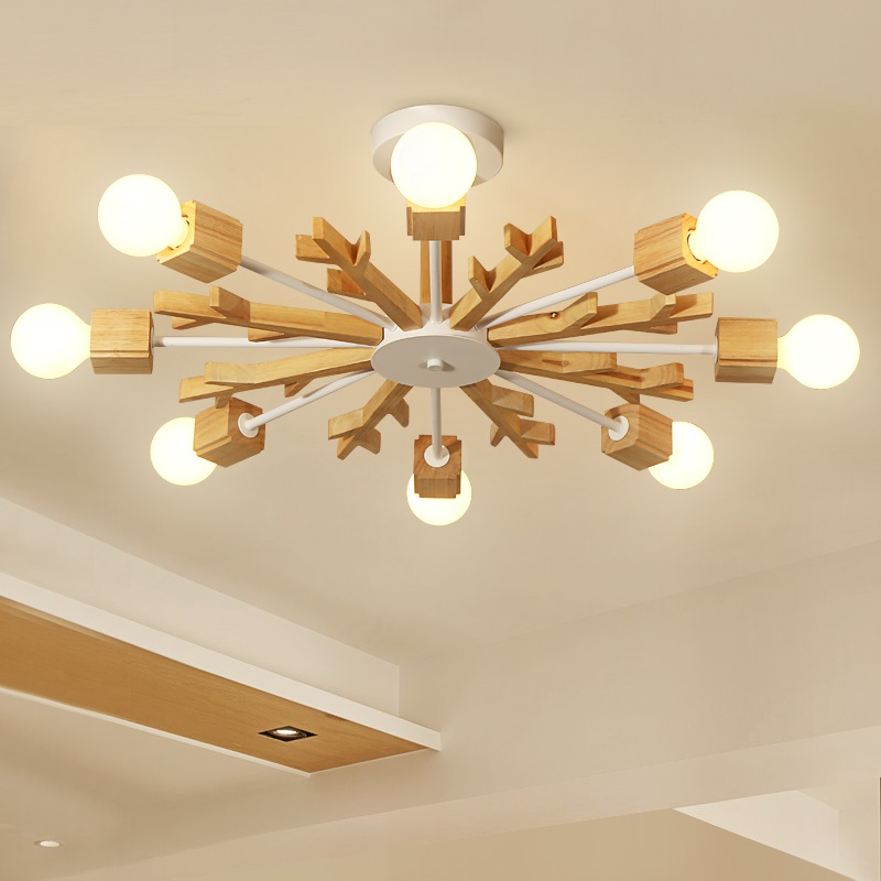 LukLoy Modern Wooden LED Ceiling Lamp Snowflack Ceiling lights for Living Room Foyer Bedroom Home Decoration Lighting Fixtures power adapter 15v 3a 45w tpn ca02 wall ac charger for hp elite x2 1012 g1 usb c spectre x360 13 w013dx