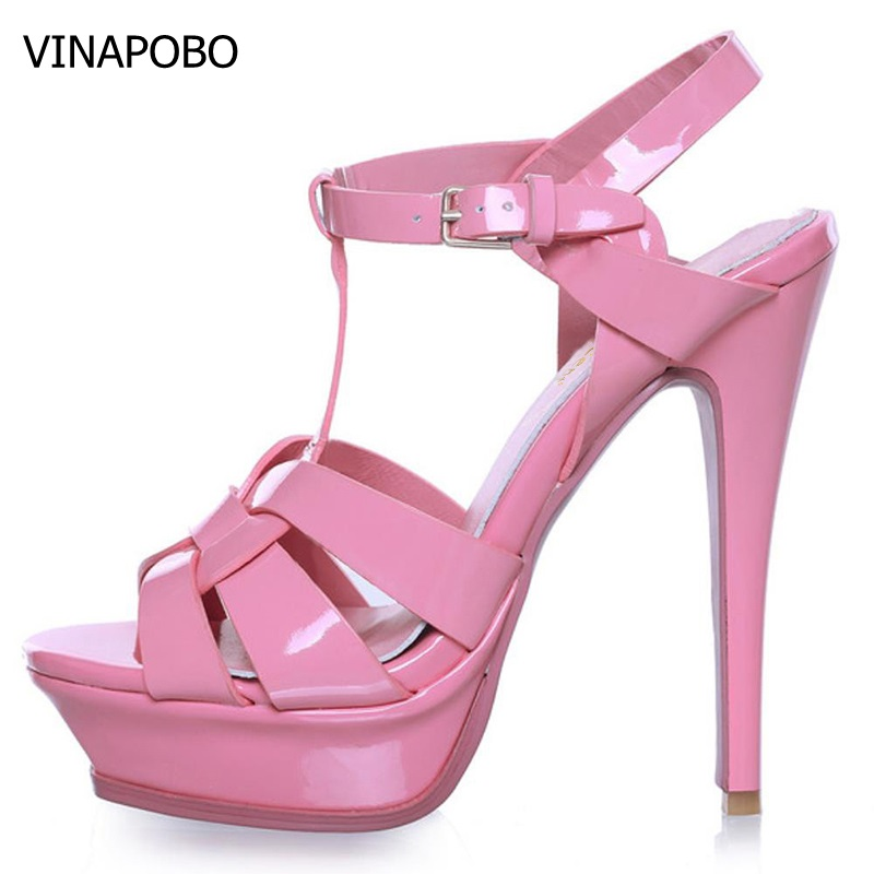 VINAPOBO T strap quality genuine leather high heel platform sandals women sexy footwear fashion lady Party