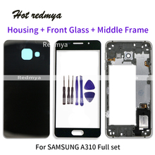 Full Housing Middle Frame For Samsung A3 2016 A310 A310F LCD Front GLASS+Housing Metal Frame+Back Glass Battery Cover