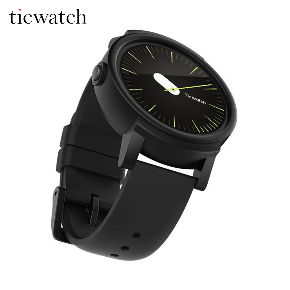 D'origine Ticwatch E Ombre montre connectée android Porter MT2601 Dual Core Bluetooth 4.1 WIFI GPS téléphone montre intelligente IP67 Étanche