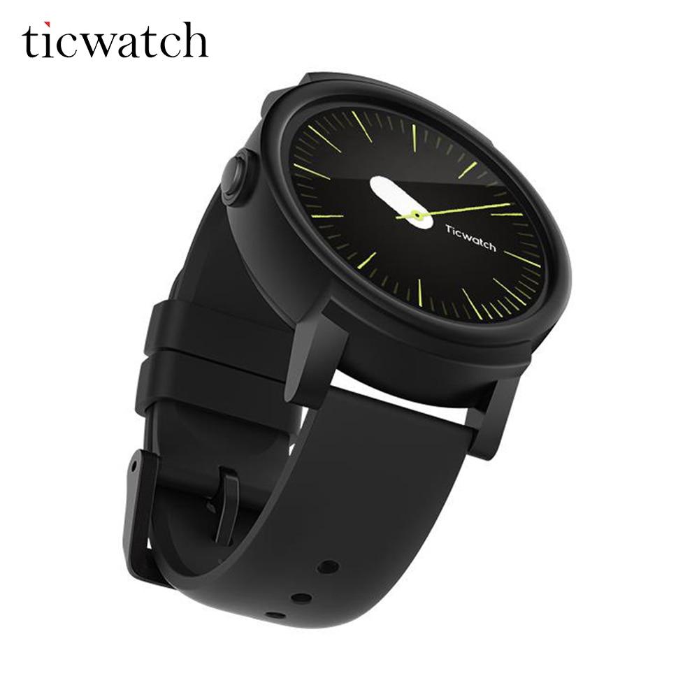 D'origine Ticwatch E Ombre montre connectée android Porter MT2601 Dual Core Bluetooth 4.1 WIFI GPS téléphone montre intelligente IP67 Étanche